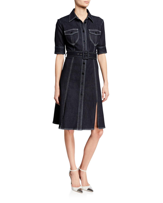 Aurora Button Front Elbow Sleeve Belted Denim Dress by Elie Tahari
