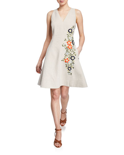 Londa V-Neck Sleeveless Fit-and-Flare Linen Dress