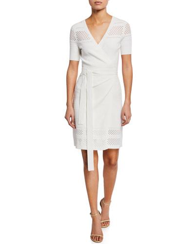 Ivy Knit Short-Sleeve Wrap Dress