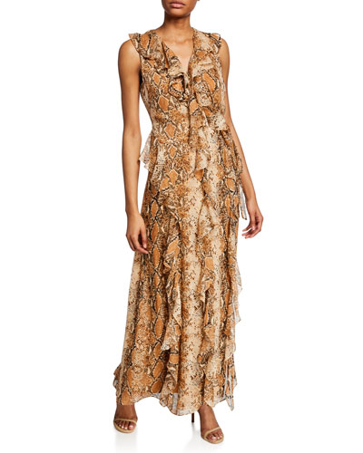 Lacey Sleeveless Python-Print Long Dress