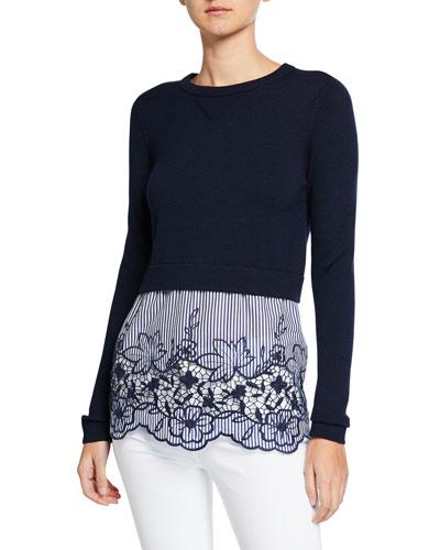 Candra Long-Sleeve Sweater Overlay Top w/ Striped Bottom