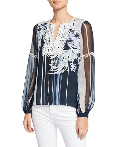 Naydean Striped Floral-Print Long-Sleeve Blouse