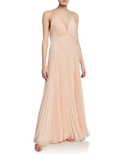 Veronika Pleated Sleeveless Gown