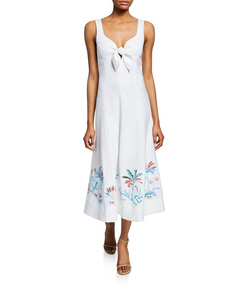 Tanya Taylor Dresses YOLANDA SLEEVELESS TIE-FRONT MIDI DRESS