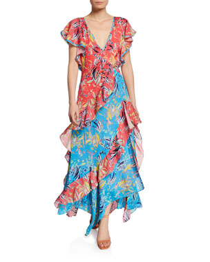 Tanya Taylor Iliana Ruffled Chiffon Floral Long Dress 84fcd9356