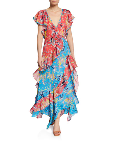 Iliana Ruffled Chiffon Floral Long Dress