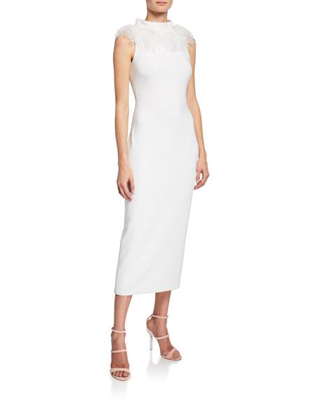 Badgley Mischka Dresses FEATHER MOCK-NECK SLEEVELESS FAILLE SHEATH DRESS