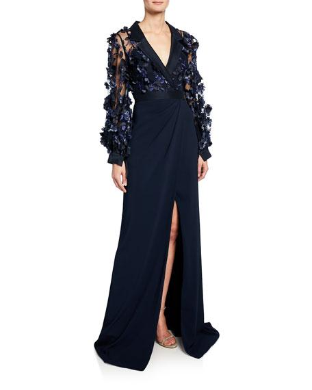 Badgley Mischka Collection Long-Sleeve Shirtdress with Petal Top