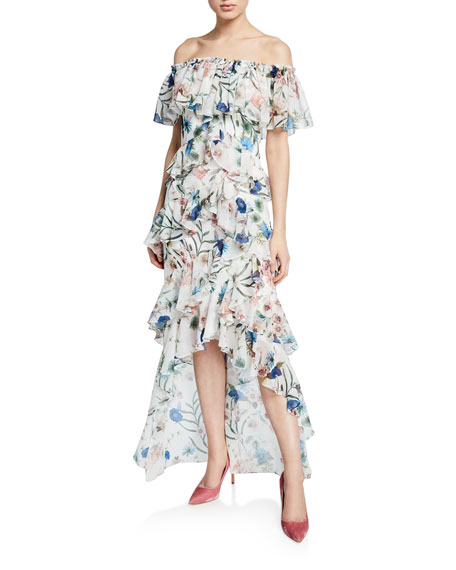 Badgley Mischka Dresses FLORAL-PRINT OFF-THE-SHOULDER HIGH-LOW TIERED RUFFLE DRESS