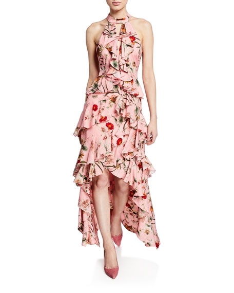 Badgley Mischka Tops FLORAL-PRINT HIGH-LOW TIERED RUFFLE HALTER GOWN