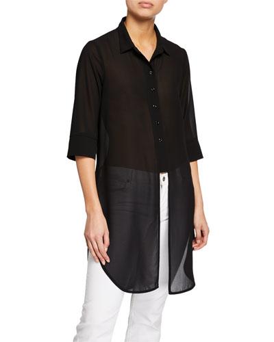 Cece Button-Down Chiffon Shirt with Center Cutout Detail