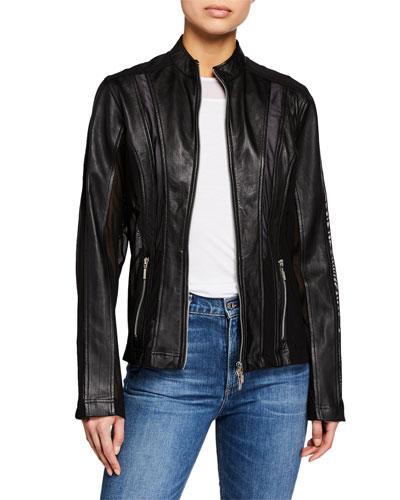 Logan Zip-Front Lambskin Leather Moto Jacket w/ Mesh Inserts