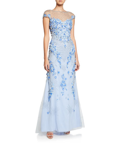 Beaded & Floral Embroidered Cap-Sleeve A-Line Gown