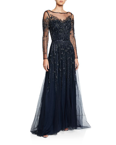 Bateau-Neck Long-Sleeve Beaded Tulle Gown