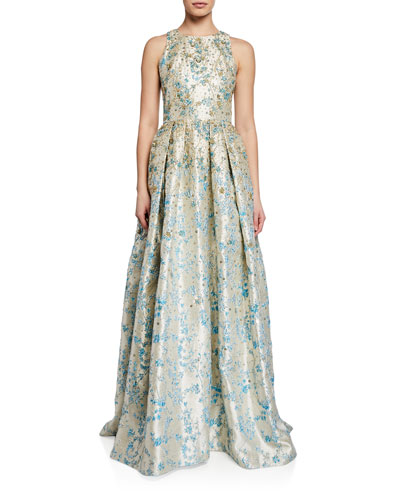 Metallic Floral Jacquard Halter Gown with Sequins and Embroidery