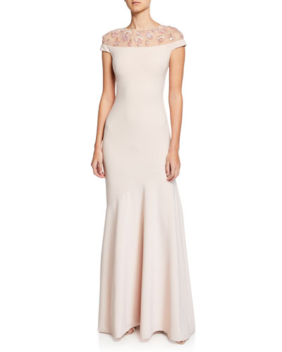 Off-the-Shoulder Illusion Cap-Sleeve Crepe Gown w/ Embellished Yoke