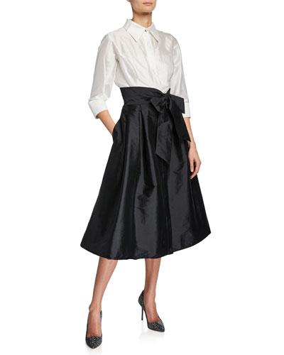 Two-Tone 3/4-Sleeve Taffeta Shirtdress