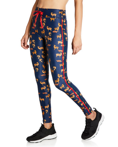 Deer-Print Drawstring Yoga Pants