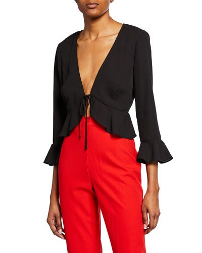 V-Neck Tie-Front Ruffle Blouse