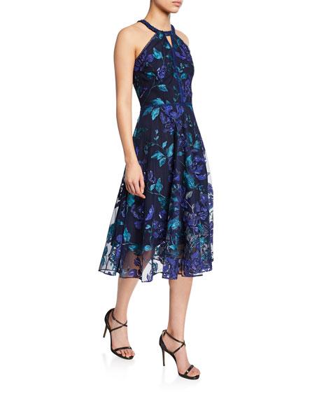 Marchesa Notte Dresses FLORAL-PRINTED LASER-CUT HALTER DRESS WITH LEAF-EMBROIDERY