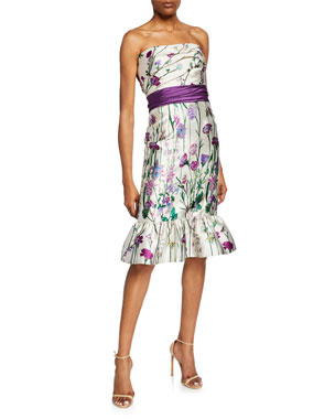 2ef79a5fdc33e Marchesa Notte Floral-Print Strapless Mikado Dress with Bow Detail   Ruffle  Hem