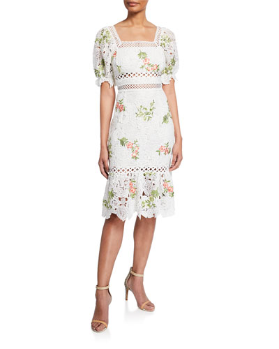 Lottie Square-Neck Short-Sleeve Floral Embroidered Lace Dress