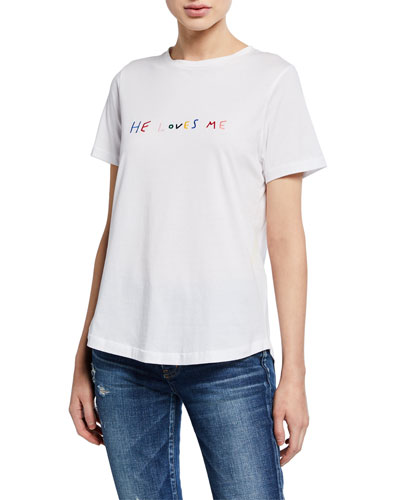 He Loves Me Short-Sleeve Cotton T-Shirt
