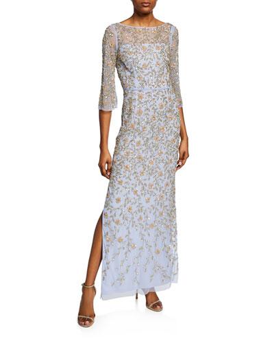 V-Back Beaded Column Gown