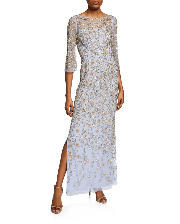 Aidan Mattox Light Blue V-Back Beaded Column Gown