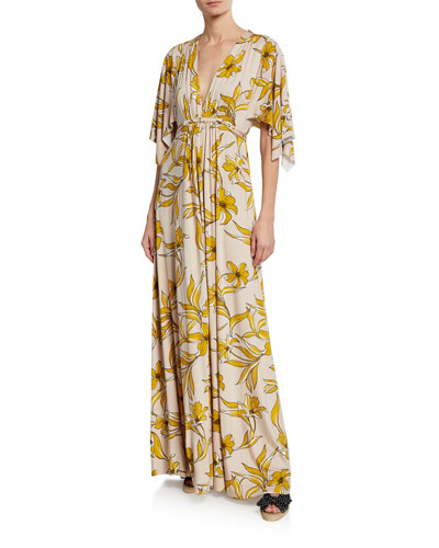 Plus Size Lily-Print Caftan Maxi Dress