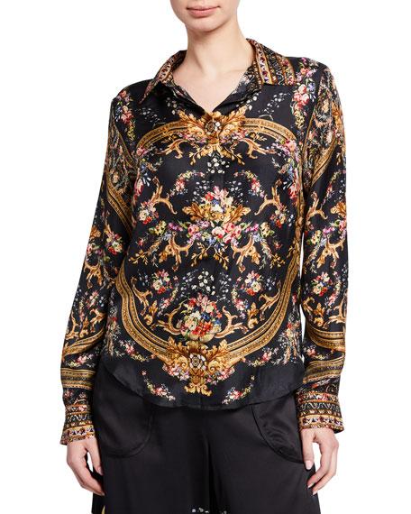 Camilla T-shirts SLIM FIT PRINTED SILK LONG-SLEEVE SHIRT