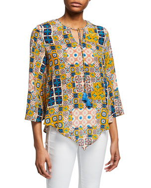 1b9784967b859 Tolani Plus Size Salerno Tile-Printed Tassel-Tie Silk Tunic