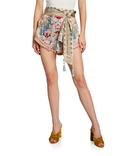 High-Cut Printed Shorts w/ Tie Detail