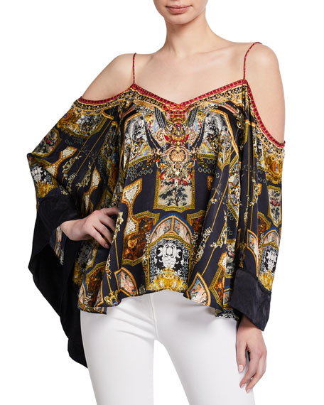Camilla Tops PRINTED FLARE-SLEEVE COLD-SHOULDER TOP