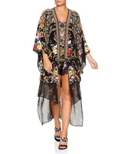 Printed Silk Kimono with Long Underlay
