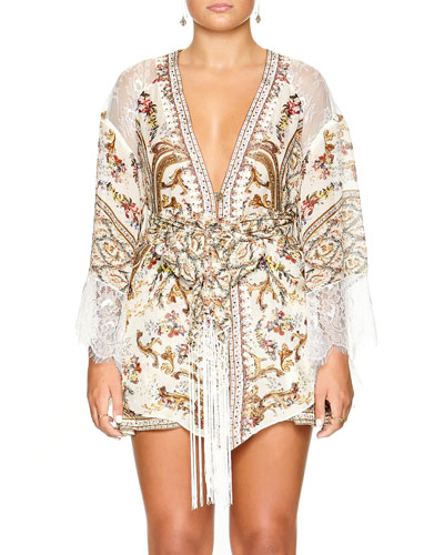Plunging Tie-Front Short Kimono Dress w/ Lace