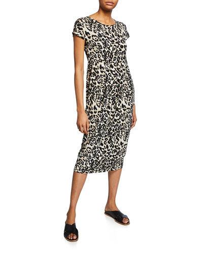 Olnia Leopard-Print Short-Sleeve Dress