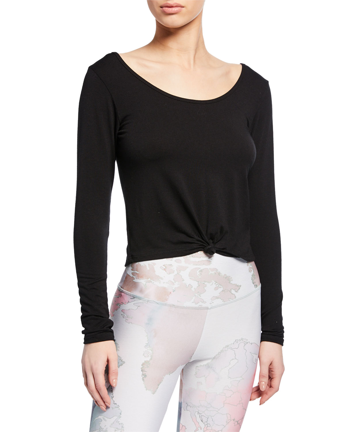 373f4d185ed7b Onzie Long-Sleeve Knotted Crop Top