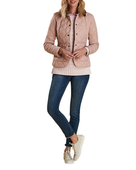 Barbour DEVERON BOX-QUILTED JACKET W/ CORDUROY COLLAR