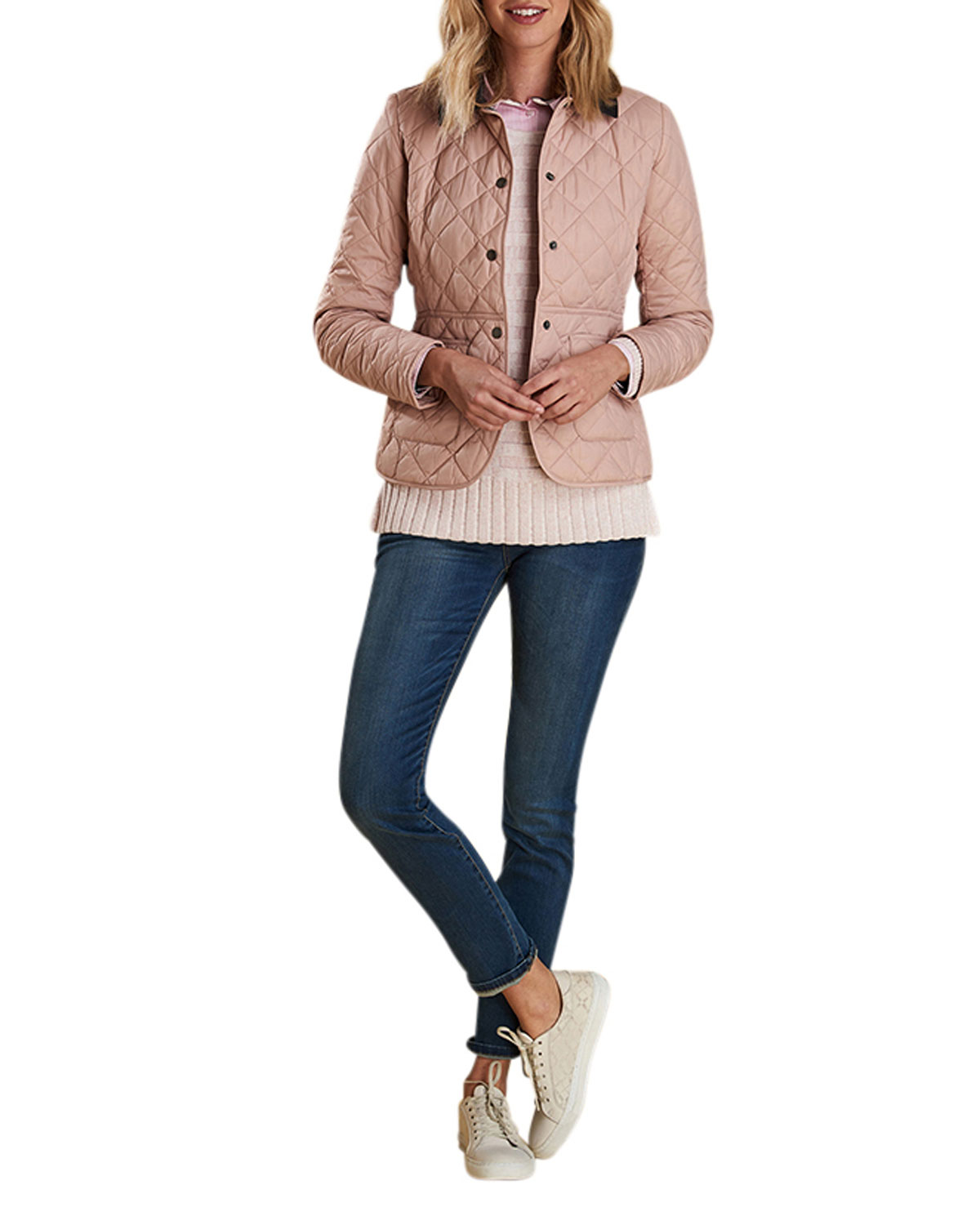 Barbour Deveron Box Quilted Jacket W Corduroy Collar
