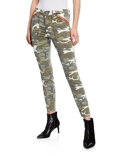 Camo-Print Zip Pocket Skinny Jeans