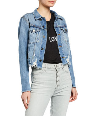 a172b7a2c6 Etienne Marcel Cropped Denim Jacket with Zippers