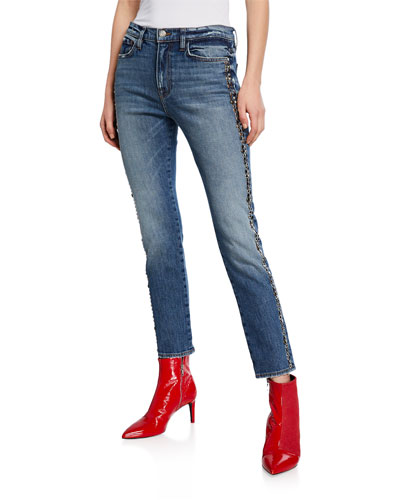 High-Rise Straight-Leg Jeans with Studded Sides