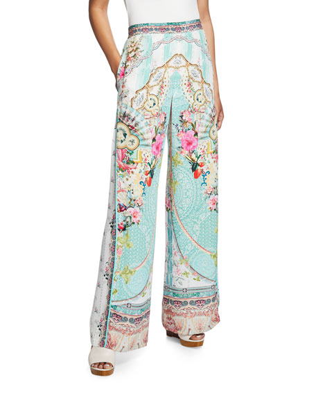 Camilla Pants Wide-Leg Printed Pants with Side Pleat