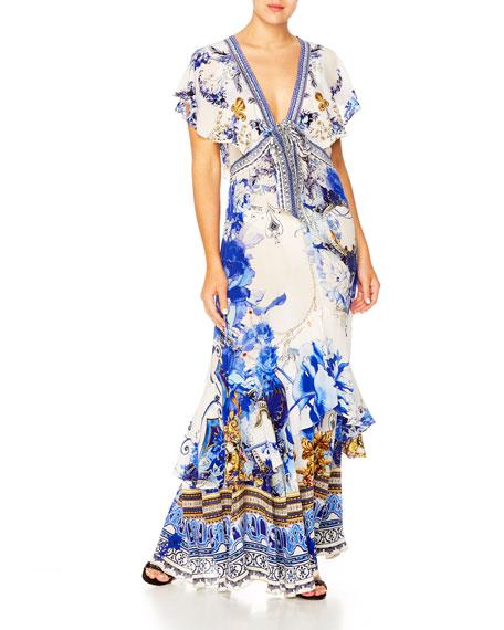 Camilla Dresses TIE-FRONT MAXI DRESS W/ SPLIT