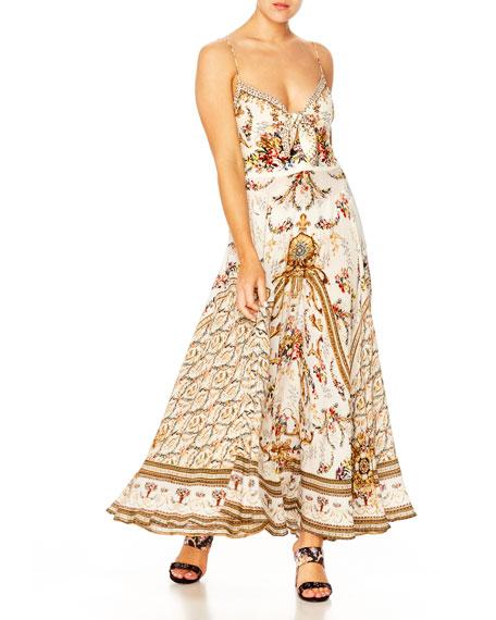 Camilla Dresses PRINTED V-NECK SLEEVELESS TIE-FRONT MAXI DRESS