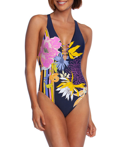 Trina Turk Suits Bal Harbour Floral Plunge One-Piece Swimsuit