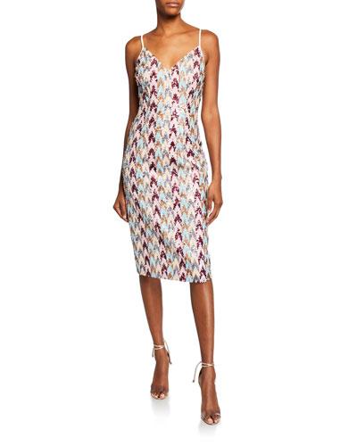 Amoire Chevron Sequin Sleeveless Sheath Dress
