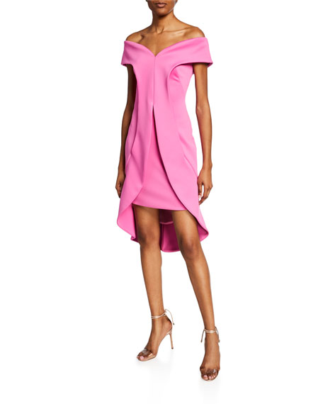 fadea7e1fb8f3 Black Halo Anderson Off-The-Shoulder Short-Sleeve Sheath Dress In Pink