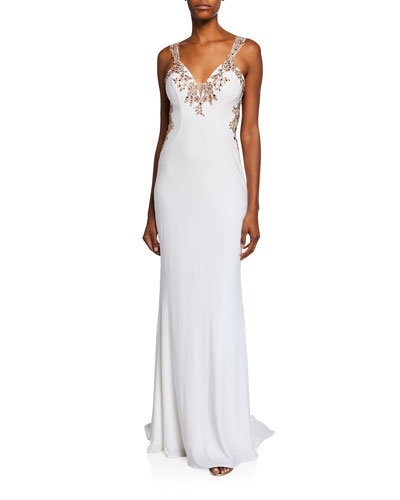 V-Neck Sleeveless Embellished Applique Jersey Gown w/ Cutout Back
